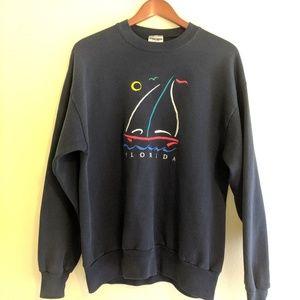 ✨Vintage Florida embroidered sailboat sweatshirt l